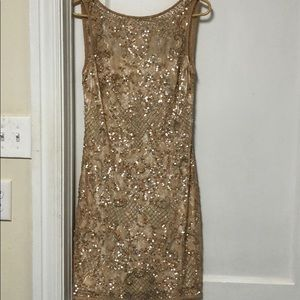 Beaded short tan dress from Neimans Aidan Maddox
